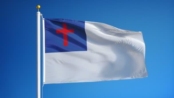 Křesťanská vlajka v pomalém pohybu hladce se smyla alfa