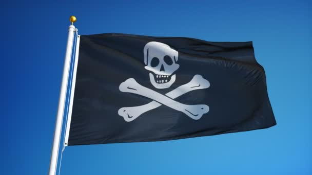 Pirate flag in slow motion seamlessly looped with alpha