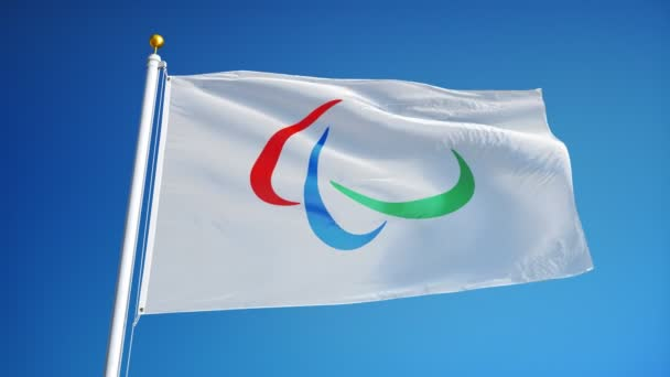 Rio 2016 Paralympic Games flag in slow motion seamlessly looped with alpha