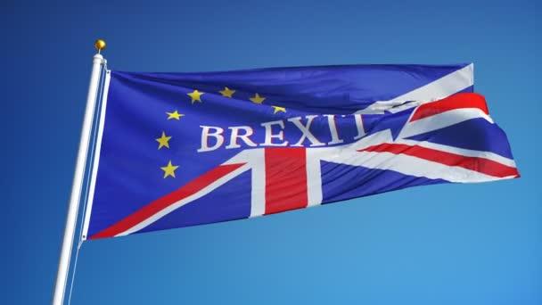 Vlajka Velké Británie názorově v pomalém pohybu smyčce s alfa kanálem
