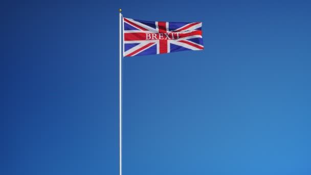 Great Britain Brexit Flagge in Zeitlupe geloopt mit alpha