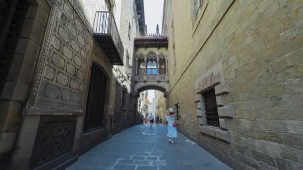 BARCELONA CATALONIA SPAIN Smooth camera shot along narrow street