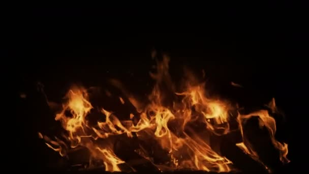 Real big fire in slow motion with particles
