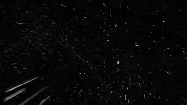 Fiocchi di neve cadere veloce reale in avanti con inizio e fine