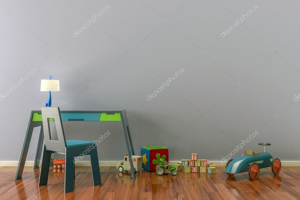 Kinderkamer Met Bureau : Lege kinderkamer met speelgoed bureau en stoel u stockfoto