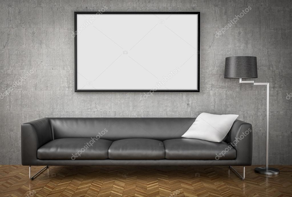 Mock Up Poster, Big Sofa, Concrete Wall Background, 3d Illustrat U2014 Stock  Photo