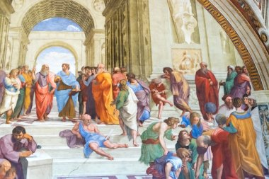 The school of Athens by Raphael in Apostolic Palace in Vatican C