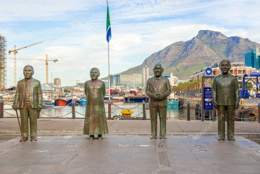 Nobel Square at waterfront in Cape Town with the four statues of