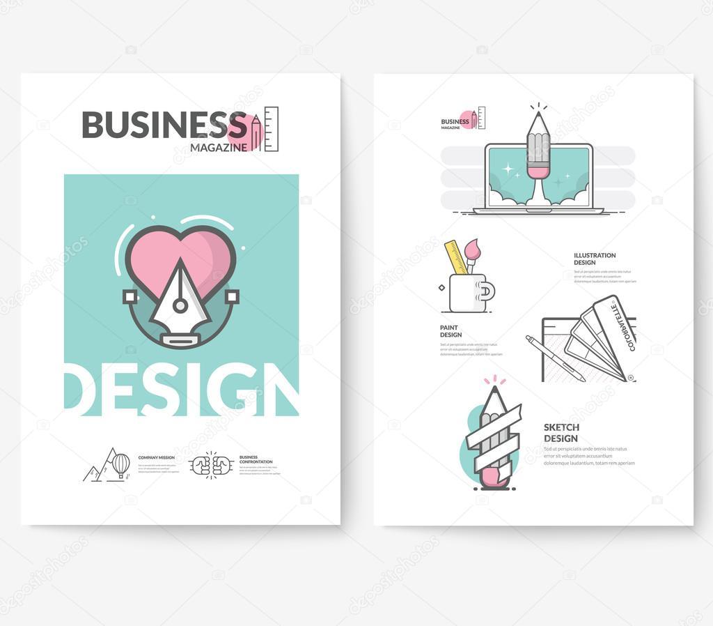 Negocio folleto flyer diseño plantilla de diseño, con los iconos de ...