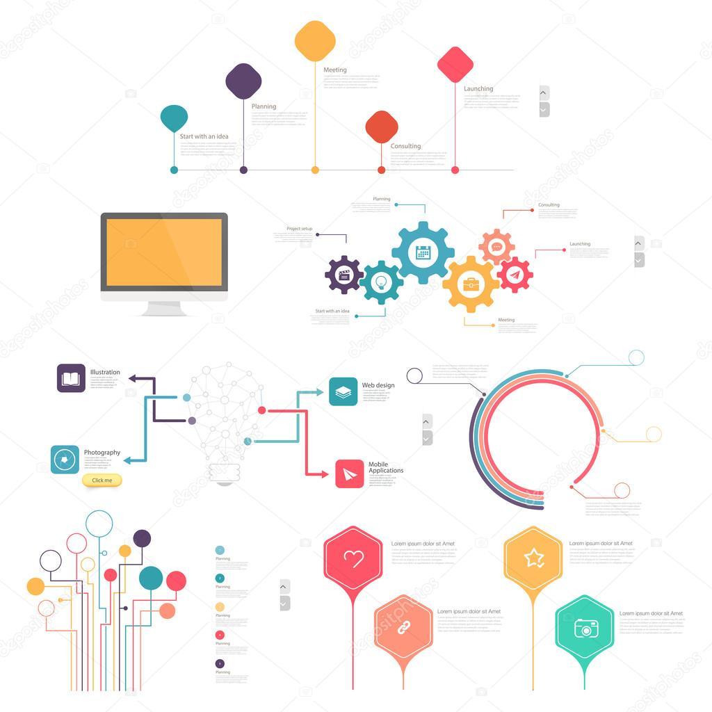 911d6225de4ac Colección  conjunto de elementos de infografía para presentaciones de  diapositivas de negocios — Vector de ...