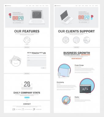 Two page Website design template with concept icons and avatars for business company portfolio