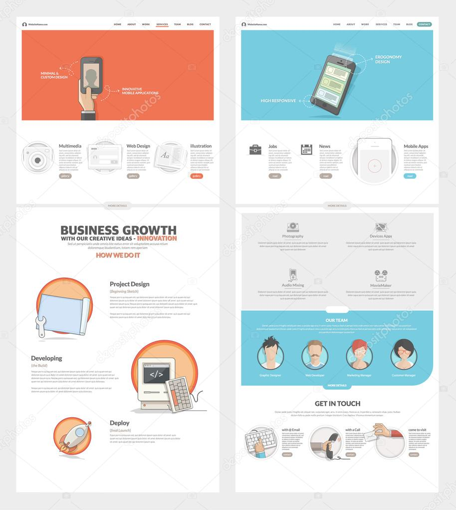 Two Page Website Design Template With Concept Icons And Avatars For  Business Company Portfolio U2014 Stock  Company Portfolio Template