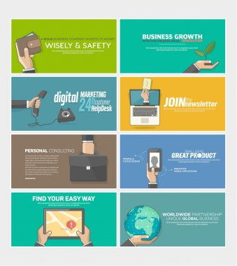 Flat web infographics concept banners for business company
