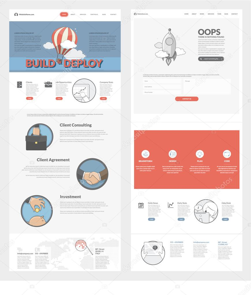 Website template with concept icons for business company — Stock ...