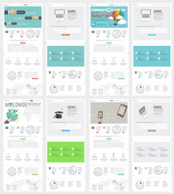 Collection of flat website templates for business company