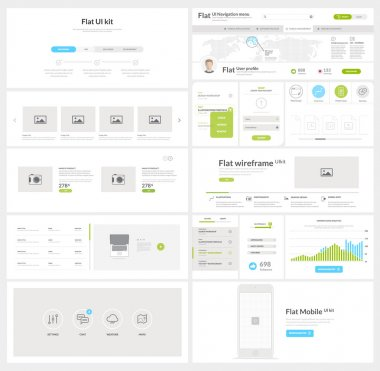 Flat website, mobile UI kit for business templates