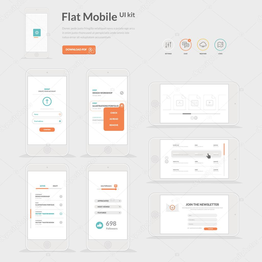 Flat Mobile UI kit