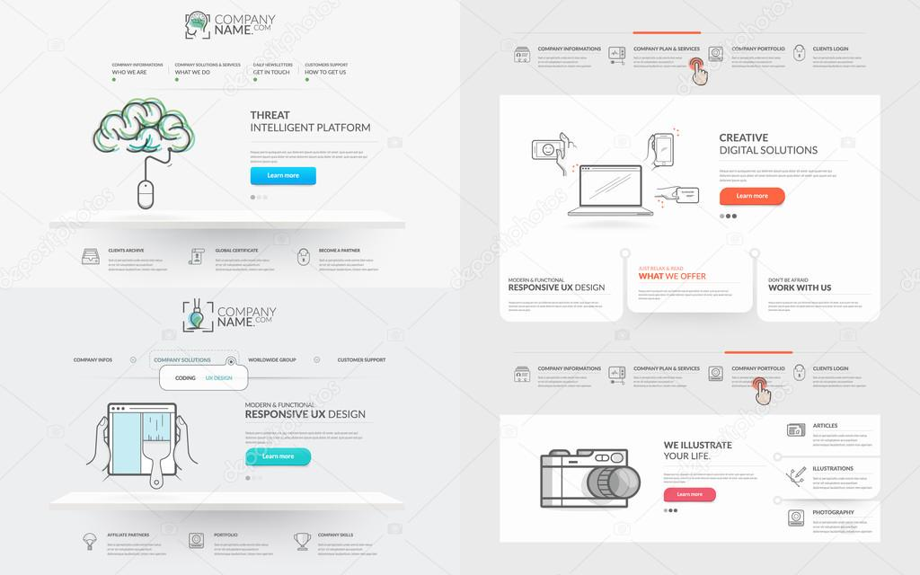 Website Vorlage Elements-Auflistung — Stockvektor © liquidlayout ...
