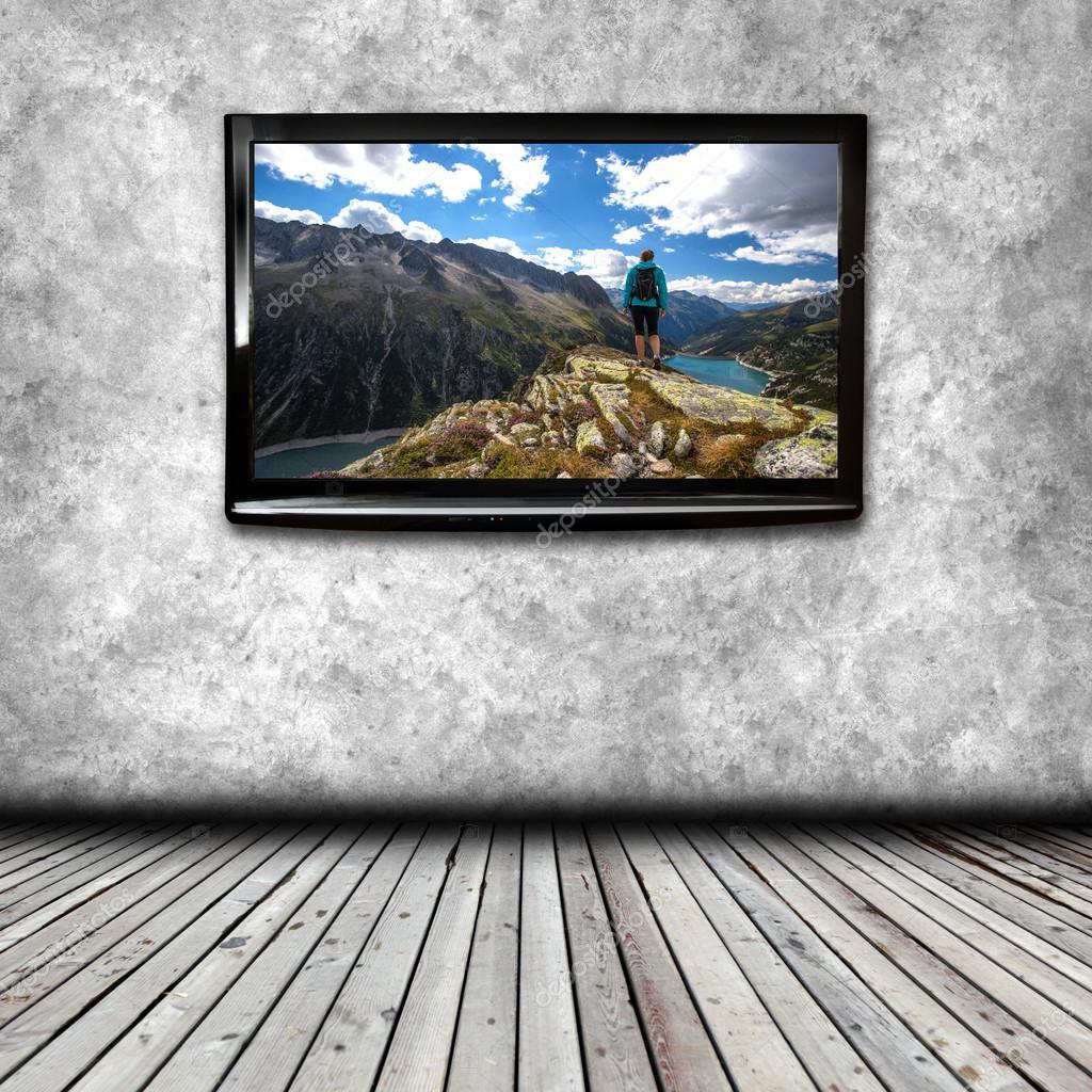 plasma tv sur le mur de la salle — Photographie semisatch © #113067210