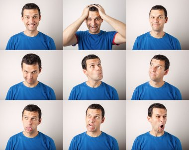 Composition of young man expressing different emotions