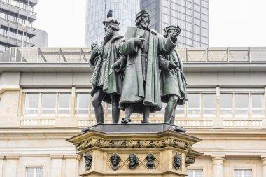 Johannes Gutenberg monument elements, Frankfurt am Main, Germany.