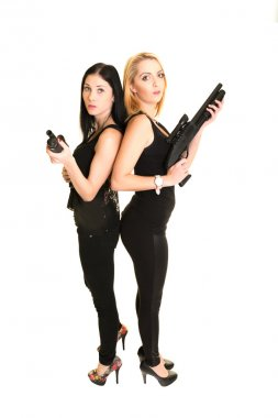 Two beautiful women with guns isolated on white stock vector