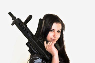 Beautiful woman with gun