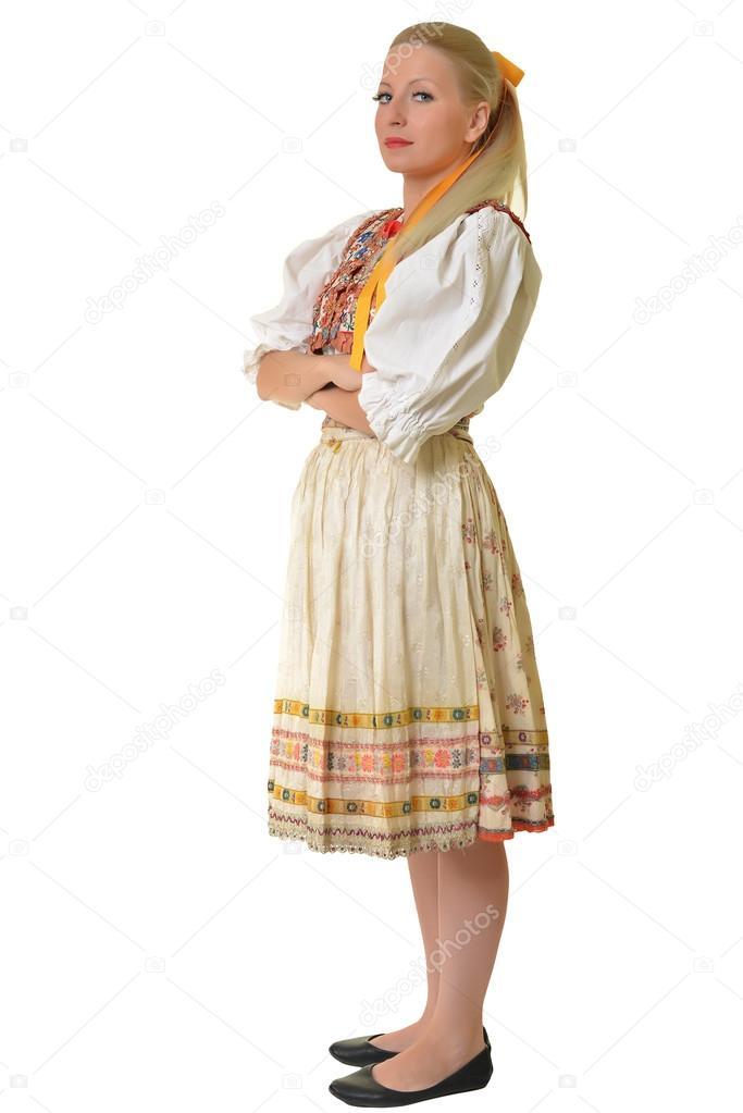 sale retailer c6a5e f8140 Frau auf slowakischer Folklore Kleid gekleidet — Stockfoto ...