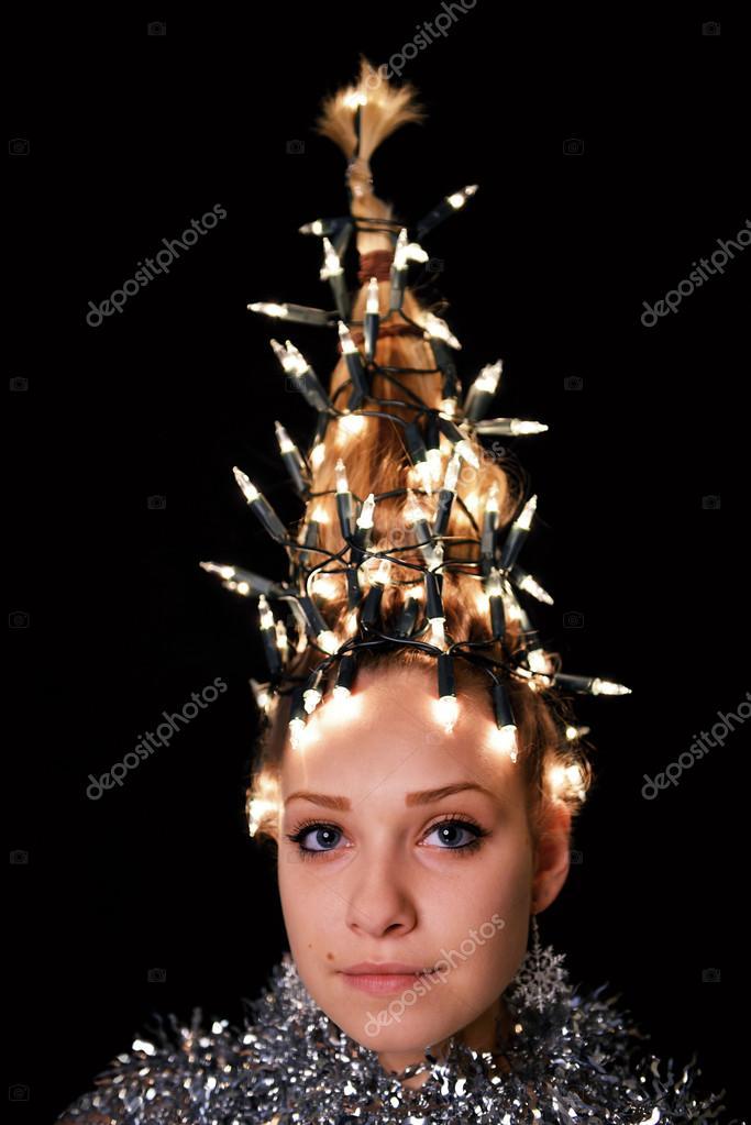 Weihnachts Frau Weihnachtsbaum Urlaub Frisur Stockfoto C Muro
