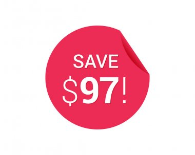 vector round red icon tag with sale advertising, save 98