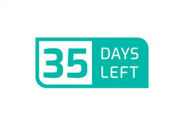 35 Days Left banner on white background, 35 Days Left to Go icon