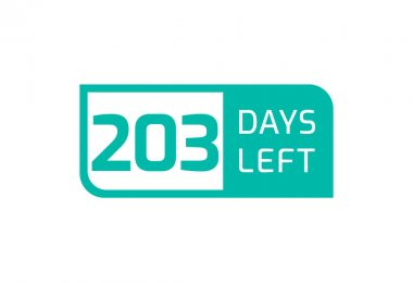 203 Days Left banner on white background, 203 Days Left to Go icon