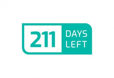 211 Days Left banner on white background, 211 Days Left to Go icon