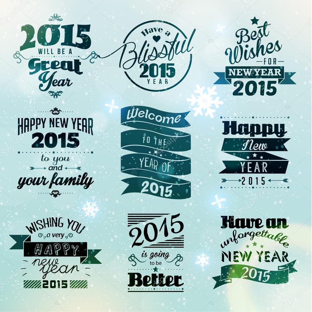 Glückliches neues Jahr 2015 Season Greetings — Stockvektor © quinky ...