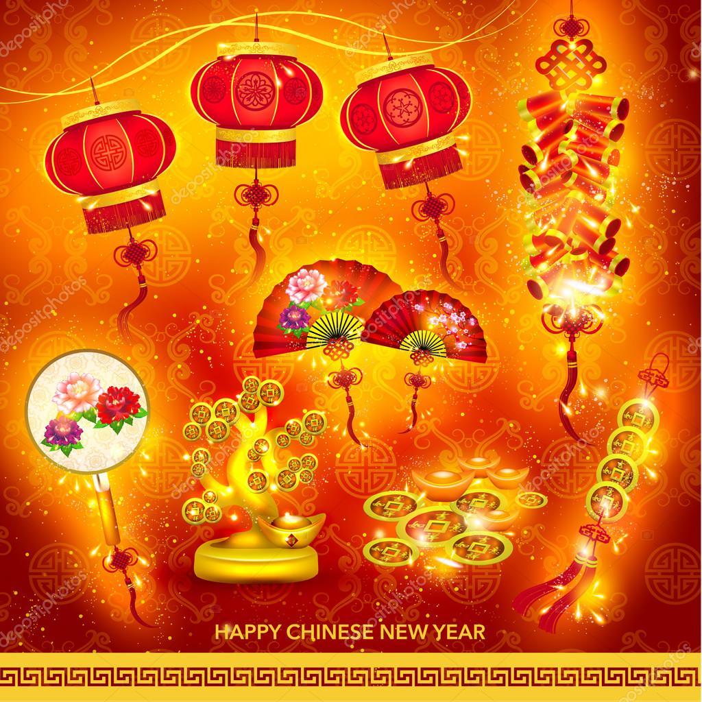 Frohes neues chinesische Dekoration Set — Stockvektor © quinky #61330385