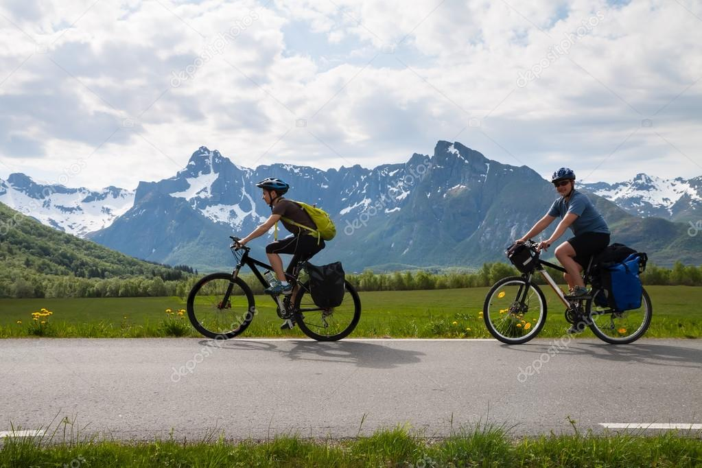 Two mountain bike cyclists, Norway