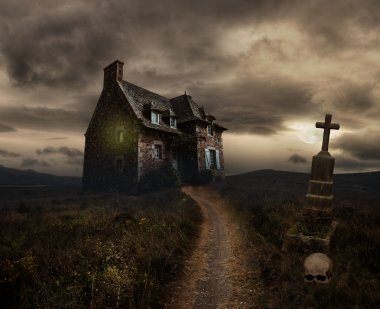 Apocalyptic Halloween scenery with old house, skull and grave stock vector