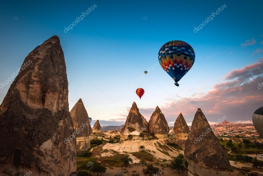hot air balloon trip flying over Cappadocia