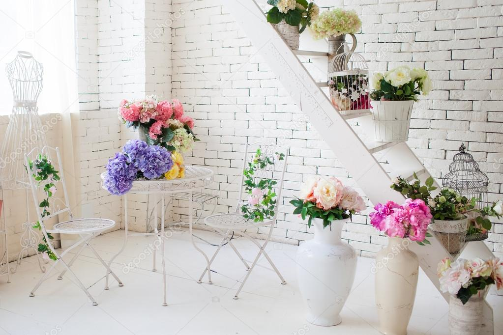 Flowers Openwork Metal Furniture A Mannequin In The Interior Of