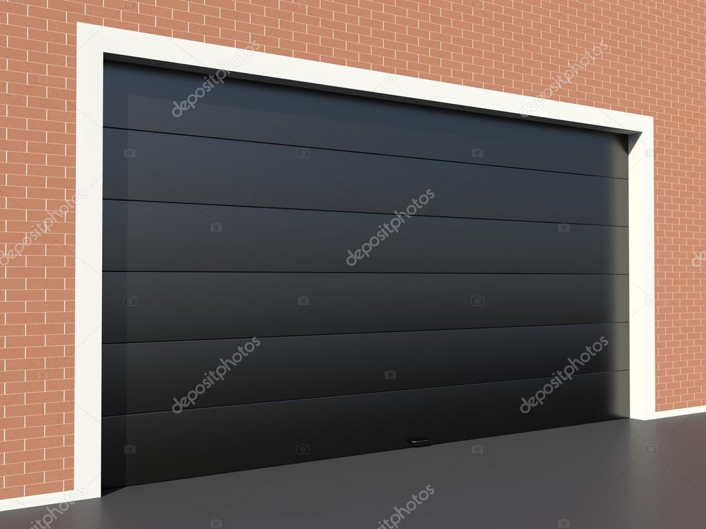 Garagentor mit tür modern  Moderne schwarze Garagentor — Stockfoto © conceptw #76356521