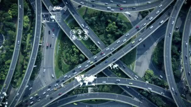 Letecký pohled na autopilot autojízdu na dálnici