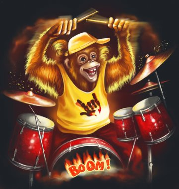 Red monkey rock musician in yellow t-shirt  playing on the drum. Digital illustration.
