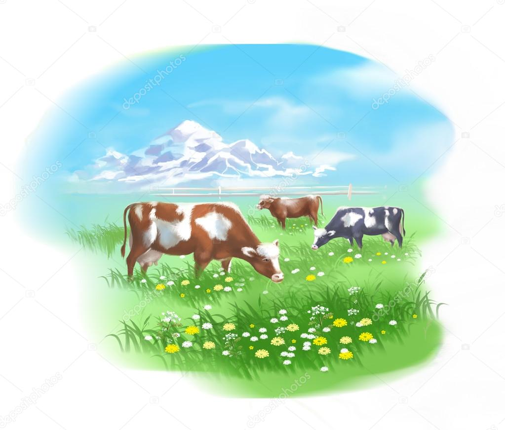 Herd of cows grazing on summer meadow against the mountains. Digital illustration.