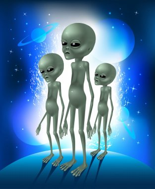 Grey aliens. Three greens aliens on the background space glowing sky. Vector illustration.