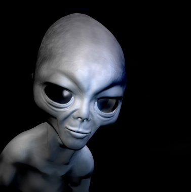 Grey realistic alien isolated on black background. 3D character. Digital illustration.