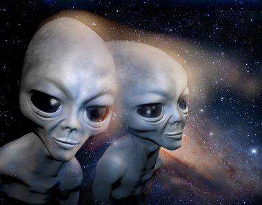 Two grey realistic alien in space. 3D characters. Digital illustration. Digital art.