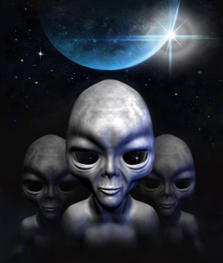 Grey aliens in space, planet and stars. 3D characters. Digital illustration.  3d illustration.