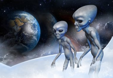 Two grey alien in earth orbit are observing from the space ship for the planet earth. Digital.