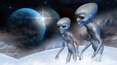 Two grey alien in earth orbit are observing from the space ship for the planet. Digital illustration.