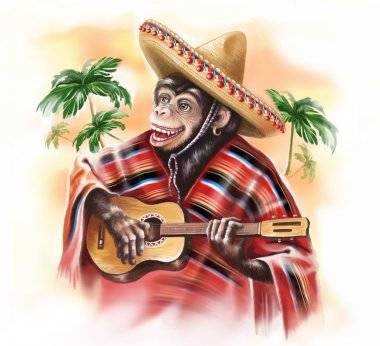 Funny monkey in a Mexican traditional dress playing guitar. Digital art. Digital painting.